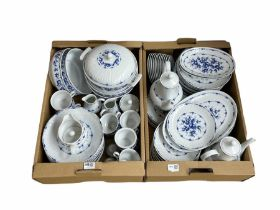 German blue and white dinner service by Henneberg (qty)