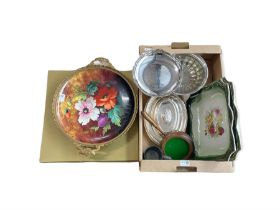 Continental hand painted floral charger with gilt mount