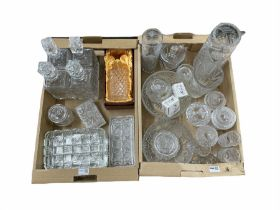 Five cut glass decanters