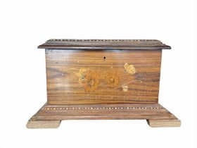 Indian wooden casket with inlaid cover on bracket feet