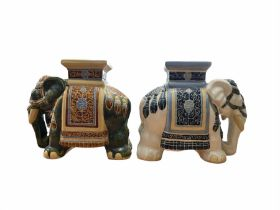 Two pottery seats in the form of Elephants H45cm