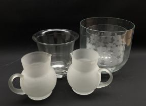 Pair of frosted glass jugs and three large glass vases