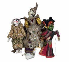 Three vintage Burmese puppets