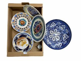 Mostly Polish pottery to include hand-painted plates by Fanjans