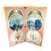 Two Piece Wooden Fairground Panel with Paintings on Linen