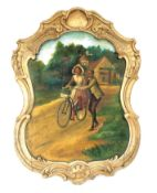 Early 1900s Wooden Fairground Panel with a Painting on Linen