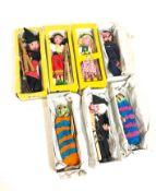 A Set of 7 Pelham Marionette Dolls from 1960