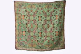 A green silk panel embroidered with dragons and lanterns, late 20th century L: 127cm, W: 124cm