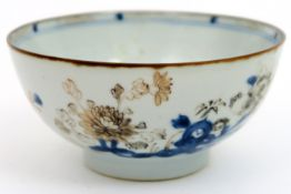 "18th Cent. Chinese bowl from the shipwreck ""The Nanking"" in porcelain with blue-white decor with ink"