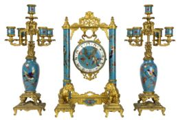 "19th Cent. French Napoleon III ""Edouard Lièvre"" Japanese style garniture by ""L'Escalier de Cristal -"