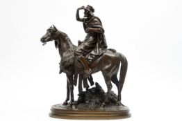 """antique French orientalistic style """"Arab on horse"""" sculpture in bronze - signed PAUTROT FERDINAND ("""