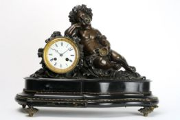 """19th Cent. French clock in black marble and bronze & with a """"S. Marti"""" signed work Negentiende"""