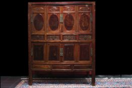 18th/19th Cent. Chinese Qing dynasty cabinet with four drawers and with eight doors, each with