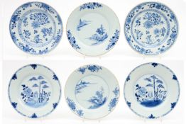 three pairs of 18th Cent. Chinese plates in porcelain with blue-white decor (landscape, flowers,