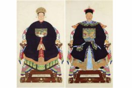 "pendant of two Chinese ""ancestral portraits"" paintings on scroll Pendant Chinese schilderingen (op"