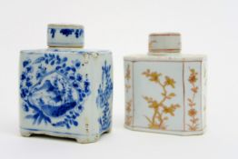 two 18th Cent. Chinese teacaddys in porcelain with flower decor , one in blue-white and one in