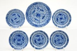 series of five smaller and one bigger 18th Cent. Chinese plates in porcelain with blue-white decor
