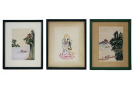 3 small Chinese paintings on rice paper Lot van drie kleine Chinese schilderingen op rijstpapier