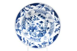 two 17th/18th Cent. Chinese Kang Hsi dishes in porcelain with blue-white decor Twee zeventiende/