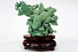 "Chinese ""two Heavenly ladies"" sculpture in turquoise Chinese sculptuur in turkoois : ""Twee hemelse"