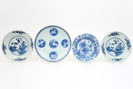 four 18th Cent. Chinese plates in porcelain with blue-white decor Lot van vier achttiende eeuwse