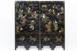 Chinese screen with four lacquered panels inlaid with jade and ivory Mooie Chinese paravent met vier