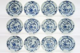"""series of twelve 18th Cent. Chinese plates from the famous """"Nanking"""" cargo in porcelain with blue-"""