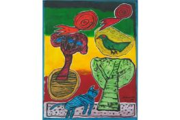 """21st Cent. """"Corneille"""" mixed media painting (gouache and collage) - titled, signed and dated 2001"""
