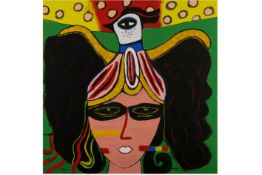 Corneille signed screenprint in colors on canvas - dated 2008 CORNEILLE (1922 - 2010) (1922 -