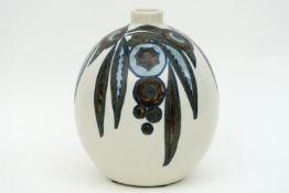 "Belgian ""Ch. Catteau"" Art Deco vase in marked earhtenware (grès) with polychrome flower decor"