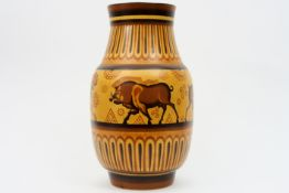 """rare """"Ch. Catteau"""" Art Deco-vase in 'Keramis' marked ceramic with a polychrome decor of lionesses"""