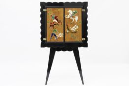 late Art Deco Italian bar in lacquered wood with panels in glas-marquetry - with typical Italian