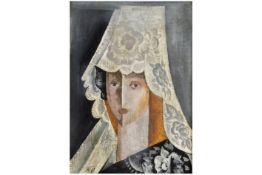 "early 20th Cent. Russian Nathalia Gontcharova oil on canvas titled ""L'espaganole à la mantille"" -"