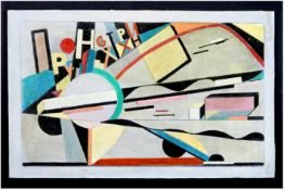 early 20th Cent. oil on board with a constructivist composition - signed El Lissitzsky and dated