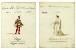 """two studies for costumes for the opera """"LA Favorite"""" by Donizetti at the Scala of Milan dd 1947 -"""