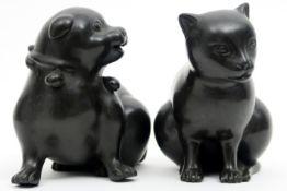 pair of small sculptures in bronze - signed Sarti SARTI paar sculpturen in brons n° 3 en 242/