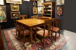 Belgian thirties' Art Deco dining-room suite in several woodkinds with a table, 8 chairs and a