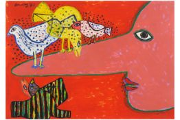 quite large Corneille signed gouache - dated 1973 CORNEILLE (1922 - 2010) (1922 - 2010) grote