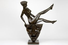 """21st Cent. """"Lady on the top"""" sculpture in bronze - signed Igor Tcholaria and with foundry mark"""