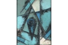 early 20th Cent. Russian abstract/suprematic mixed media painting with the monogram of Popva