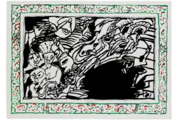 """20th Cent. Belgian mixed media with lithograph and etching """"Sans L'écorce"""" - signed Pierre"""