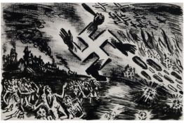 """quite special Frans Masereel's """"The occupier seen through his eyes"""" ink drawing to be dated 1940/"""