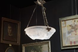 Müller Frères Lunéville signed Art Deco chandelier with bronze mounting and bowl in satinated