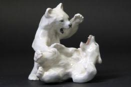 "Royal Kopenhagen ""Polar Bears"" Art Deco sculpture in marked porcelain, designed by Knud Kyhn KNUD"