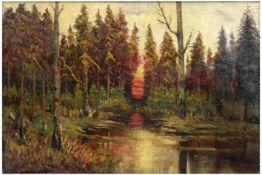 """KLEVER YULIY YULEVICH (1850 - 1924) olieverfschilderij op doek : """"Landschap met zonsondergang"""