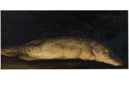 "KLEVER YULIY YULEVICH (1850 - 1924) olieverfschilderij op paneel : ""Stilleven met vis"" - 14,5 x 29,5"