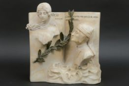 """Laat negentiende eeuwse Italiaanse sculptuur in deels gekleurde albast met een thema ivm de """""""