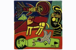 "CORNEILLE (1922 - 2010) (1922 - 2010) wandtapijt n° 39/75 in handgetufte wol getiteld ""Eté exotique"""
