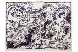 """ALECHINSKY PIERRE (° BRUSSEL 1927) grote (macro-) kleurlitho n° 35/45 getiteld """"En fait ...."""" -"""