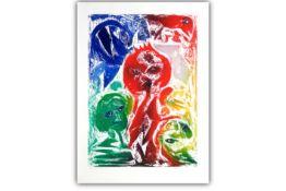 """PEDERSEN CARL-HENNING ( 1913 - 2007) grote kleurets n° 38/60 getiteld """"La Reine rouge"""" - 123 x 88,"""